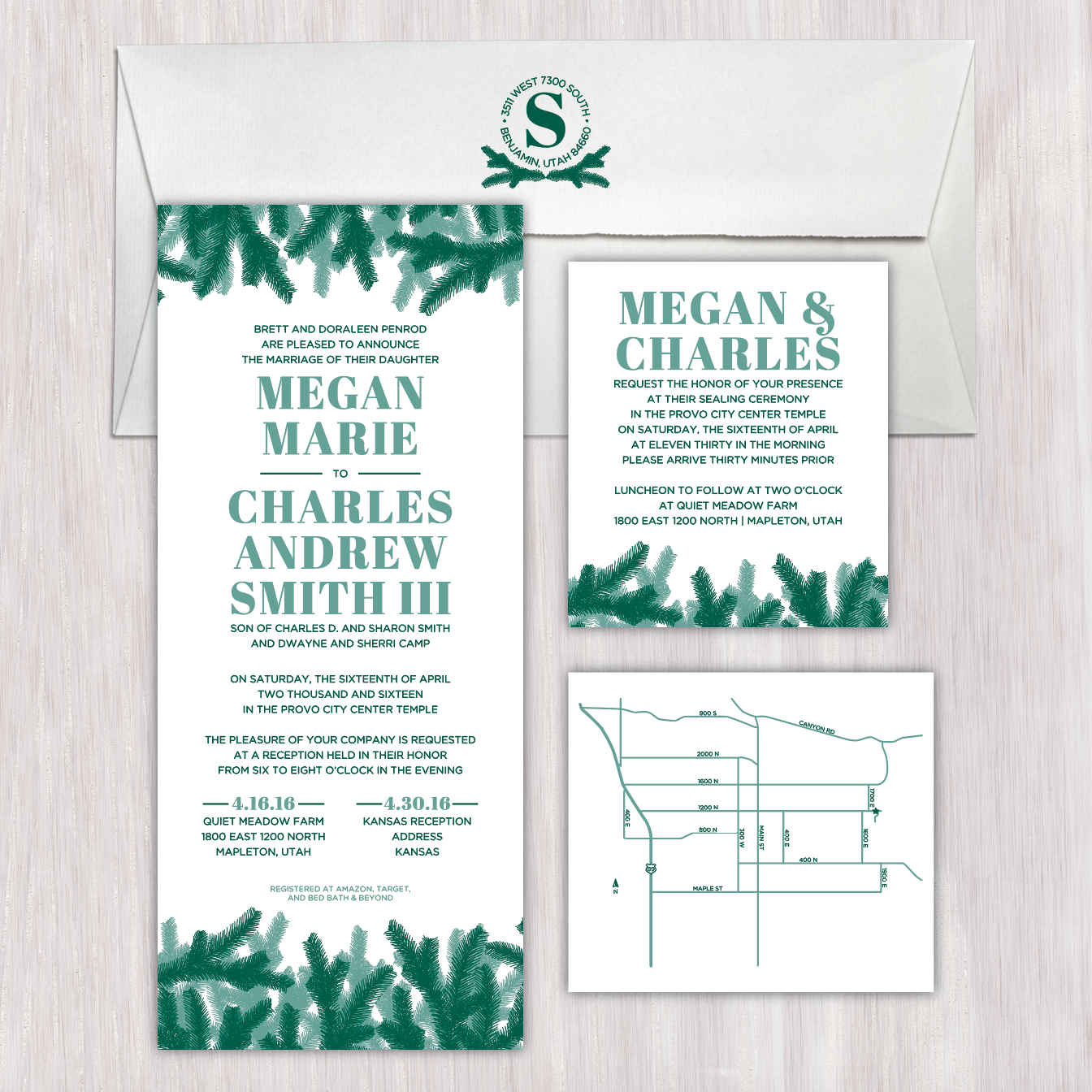 Rustic Pine Elongated Single Sided Wedding Announcement With