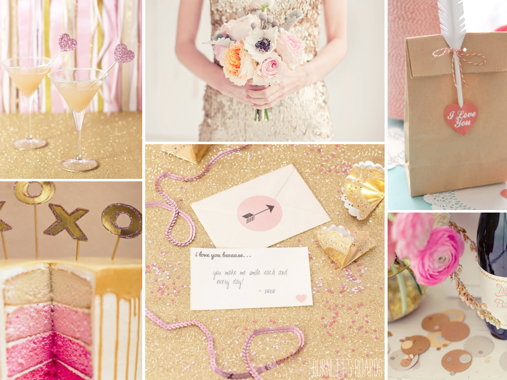 Pink and Gold wedding inspiration board perfect for a sweet Valentines Day wedding