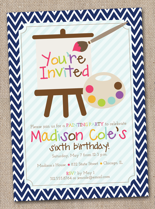 art painting party printable birthday party invitation painting