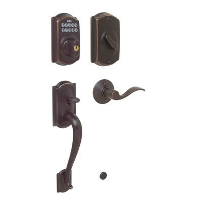 Schlage Aged Bronze Electronic Door Handleset Camelot Accent Lever 90164 Home Depot