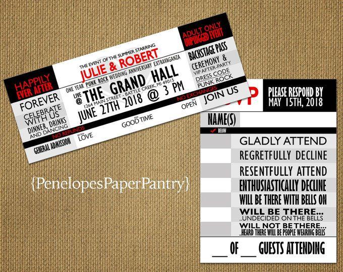Concert Ticket Wedding Invitation,Red,Black,White,Event Ticket - concert ticket invitations