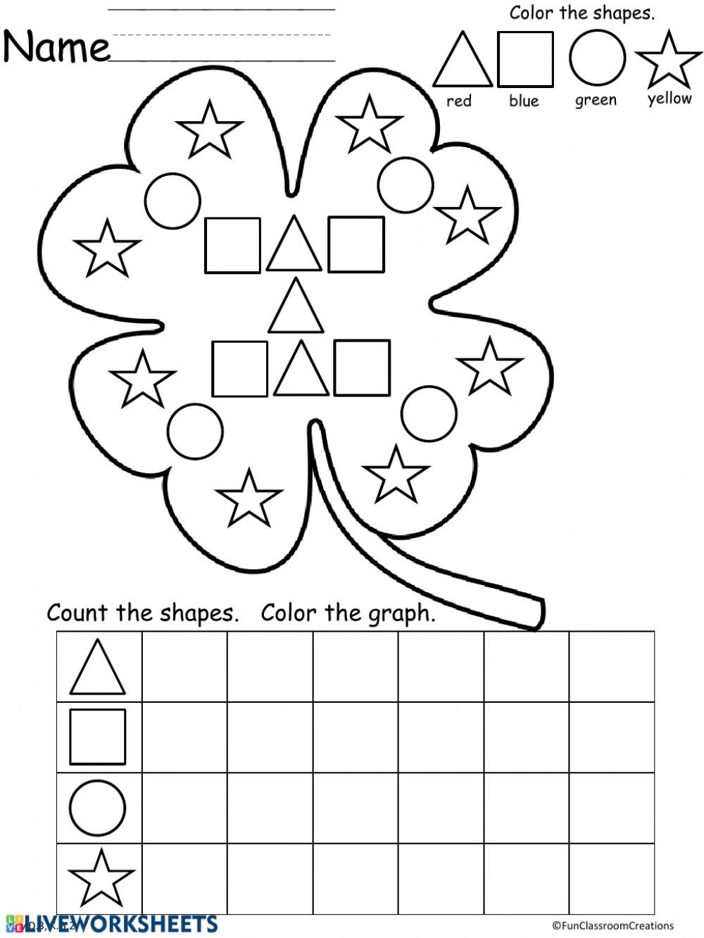 Shapes online and pdf worksheet in 2020 St patricks day