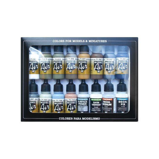 Acrylicos Vallejo Wwii Us Army Air Force Colors Model Air Paint Set 1 2 Fl Oz Bottles 16 Colors Paint Set Vallejo Air Brush Painting