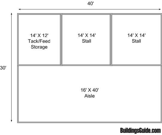1200 Sq Ft 2 Stall Barn Plan Barn Plans Barn Plan Horse Barn Designs