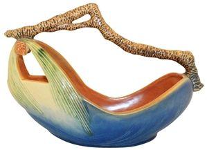 Roseville Pottery Pine Cone Blue Basket 410-10