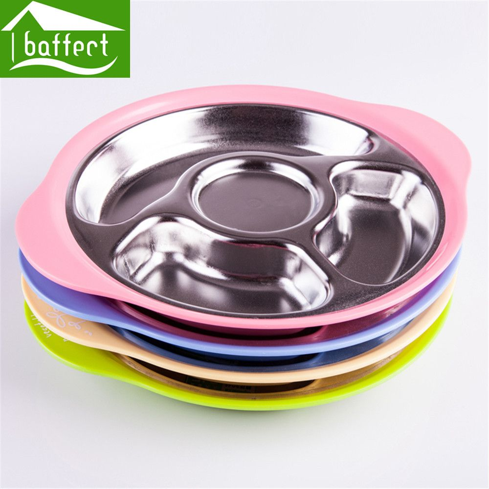 Kid Fedding Dinner Plates Partition To Eat Safety Stainless steel Health Balanced Diet Colorful Children\u0027s plate & Kid Fedding Dinner Plates Partition To Eat Safety Stainless steel ...