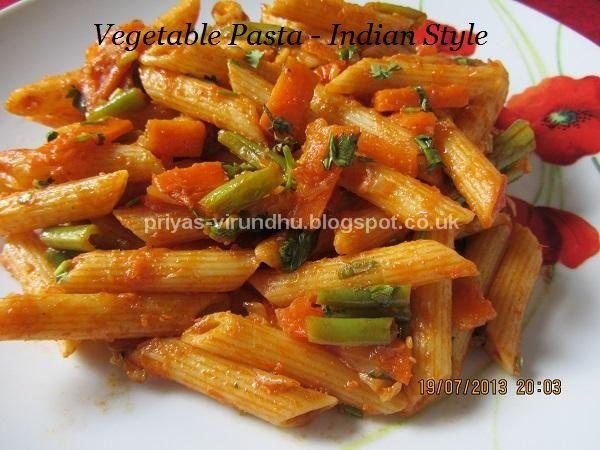Priyas virundhu vegetable pasta indian style italian vegetable pasta indian style forumfinder Images