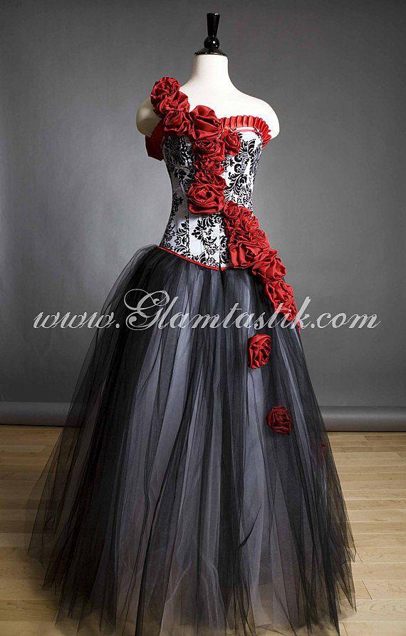 Custom Size Damask Red Rose Burlesque Corset Prom Por Glamtastik