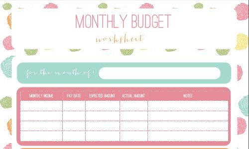 Printable Monthly Budget Worksheet *Instant Download* Organizing