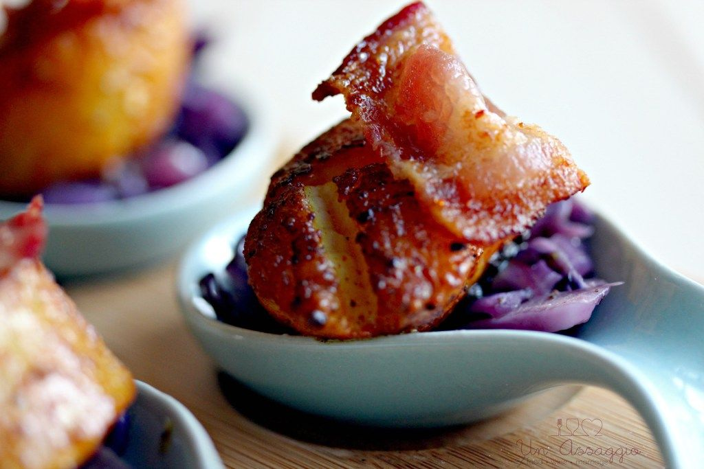 spiced scallops with braised cabbage, balsamic, bacon, scallops, recipe, party food