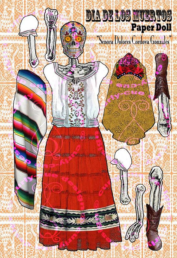 Dia de Los Muertos Paper Doll Couple Day of the by curlycuedesign, $12.50