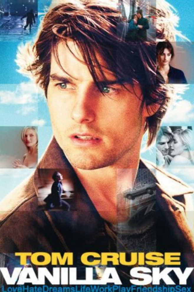 "A successful publisher finds his life taking a turn for the surreal after a car accident with a jaded lover. Director: Cameron Crowe Writers: Alejandro Amenábar (film ""Abre Los Ojos""), Mateo Gil (film ""Abre Los Ojos"") Stars: Tom Cruise, Penélope Cruz, Cameron Diaz  http://www.imdb.com/title/tt0259711/"