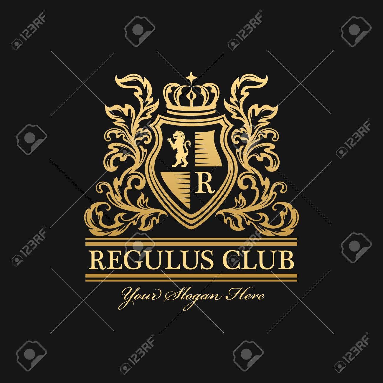 紋章のロゴのテンプレートです ライオン モノグラム 王冠シンボルおよび繁栄の装飾とヴィンテージの装飾的なエンブレム 暗い背景 ロイヤリティフリークリップアート ベクター ストックイラストレーション Image 69476949 シンボル ロゴデザイン テンプレート
