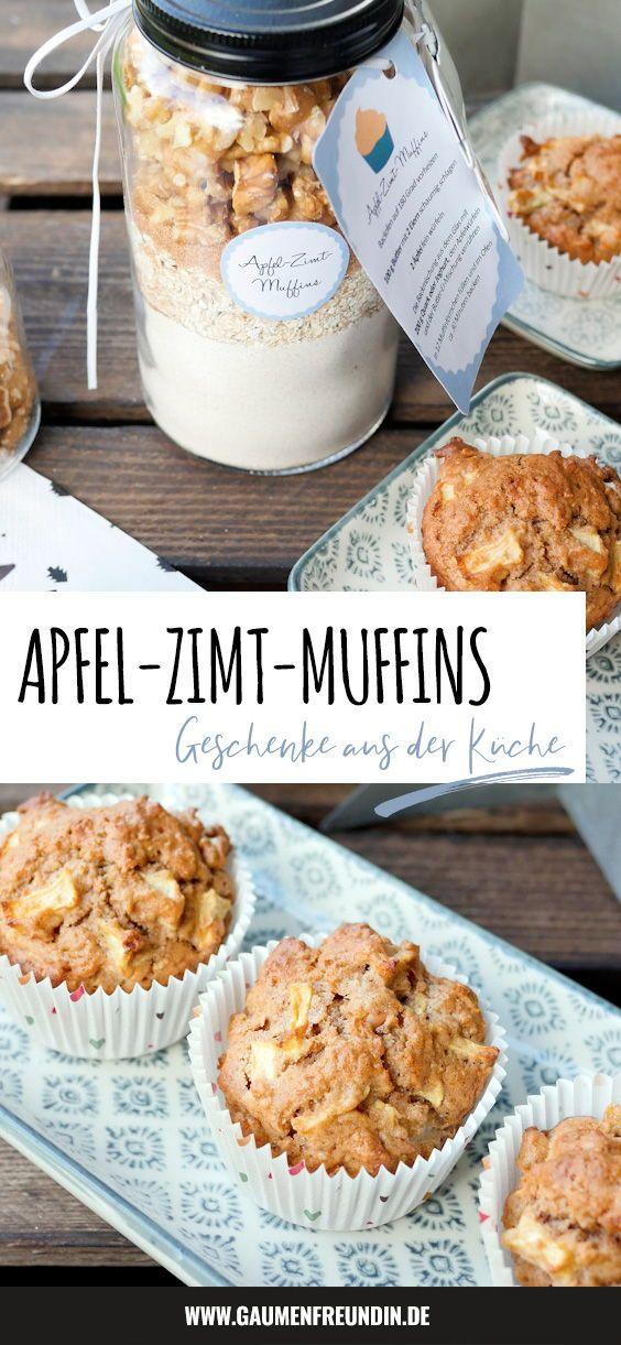 DIY Backmischung für gesunde Apfel-Zimt-Muffins   Etikett zum Ausdrucken #apfelmuffinsrezepte