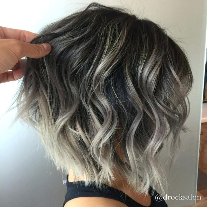 Highlights For Dark Hair Going Grey Best Silver Highlights Ideas On Going Grey Pertaining To Silver Highlights Hair Styles Short Hair Color Short Hair Balayage
