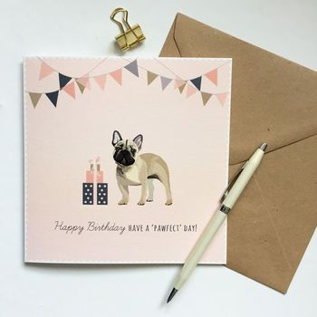 French Bulldog Happy Birthday Card