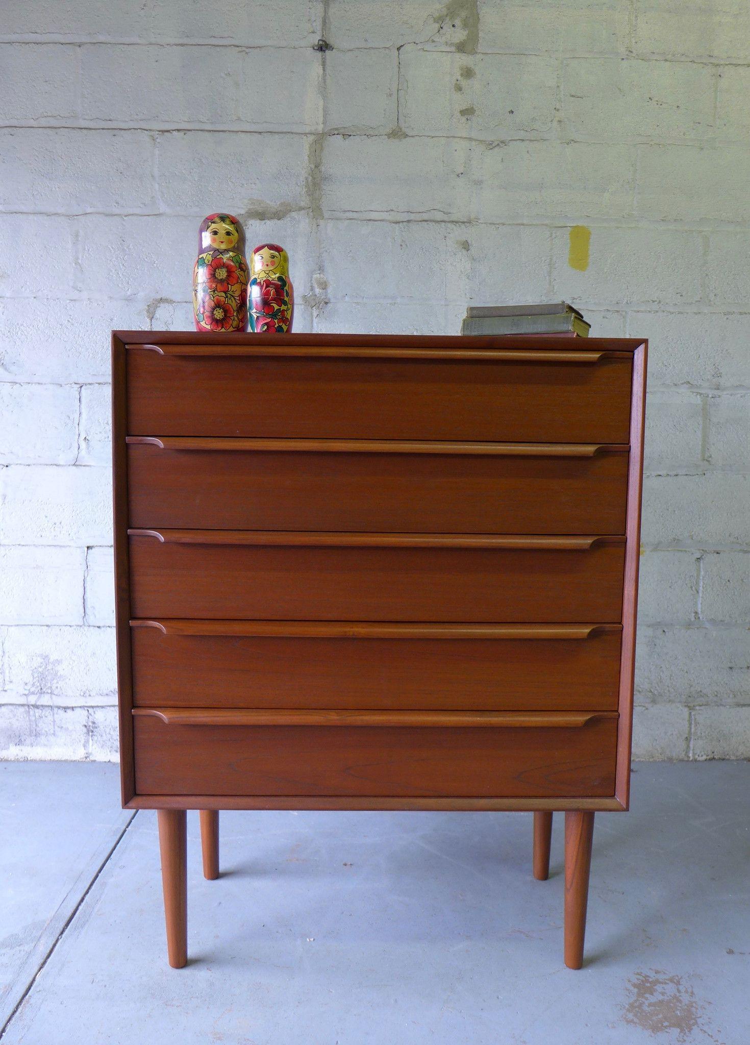 Danish Mid Century Modern Teak Dresser Mid Century Modern