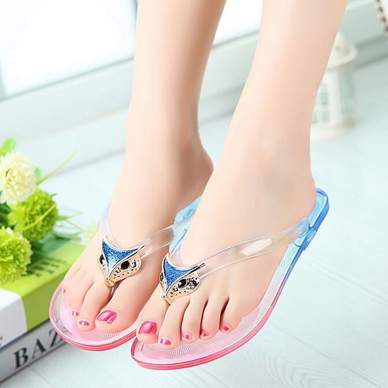 b5188660ccf1  10.44 - Arrival Fox Jelly Clear Anti-Slip Flip Flops Women Sandles Flat  Beach Shoes  ebay  Fashion