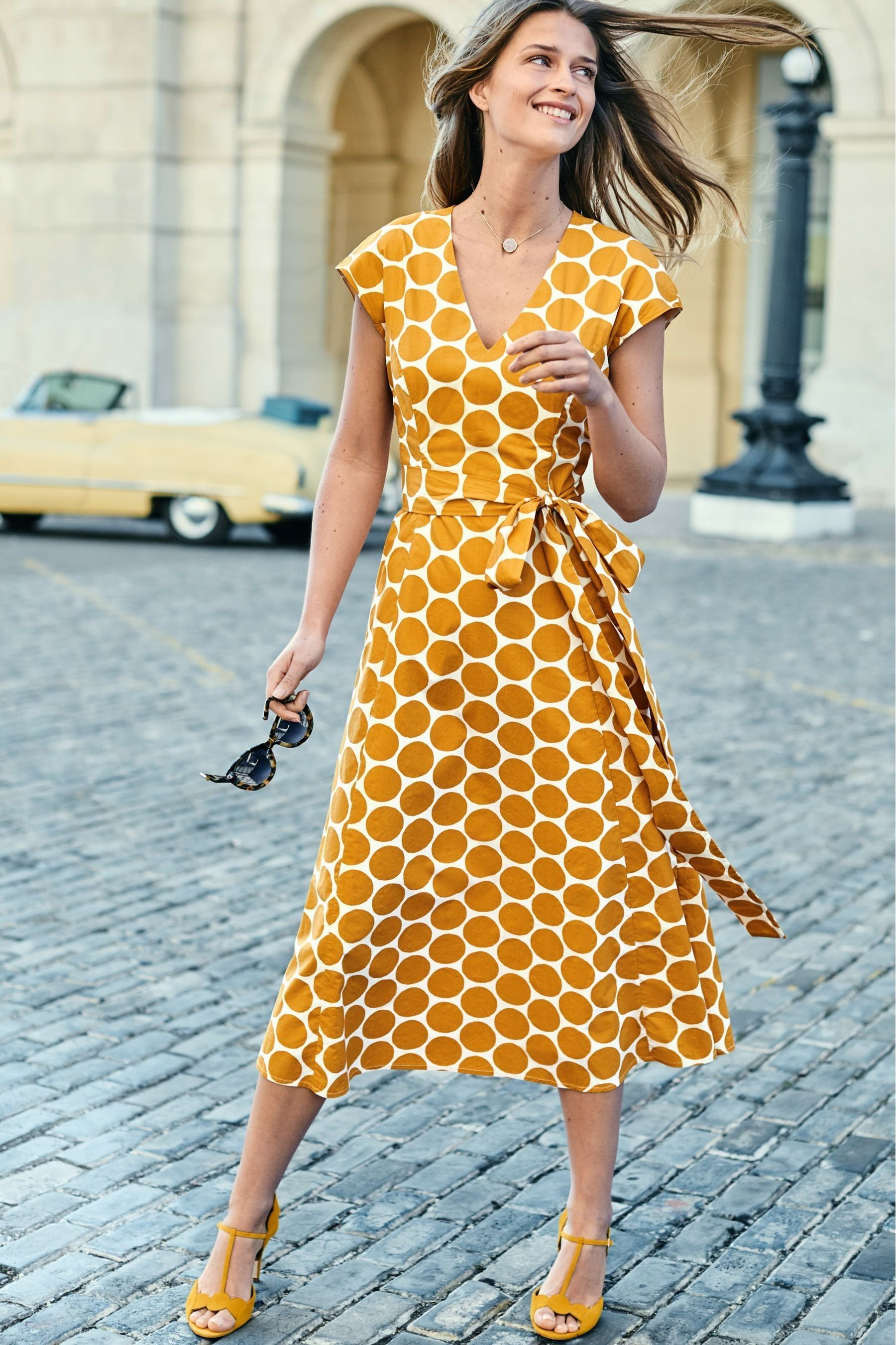 Womens Boden Yellow Tori Midi Dress Yellow Summer Dresses With Sleeves Yellow Midi Dress Midi Dress Summer [ 2700 x 1800 Pixel ]
