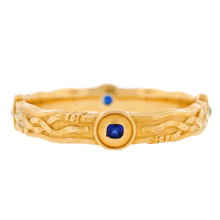 RIKER BROTHERS Art Nouveau Sapphire & Repousse Gold Bracelet.  ca. 1900  Not many people are aware that Newark, New Jersey was a major hub for the manufacture of jewelry from the late 1800's until the 1950's. One of the leading companies, the Riker Brothers, has an early history that dates back to 1846. Their pieces are quite sought after and still remain highly collectible today.