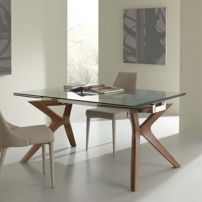 Tavolo moderno allungabile in acciaio inox e vetro temperato ...