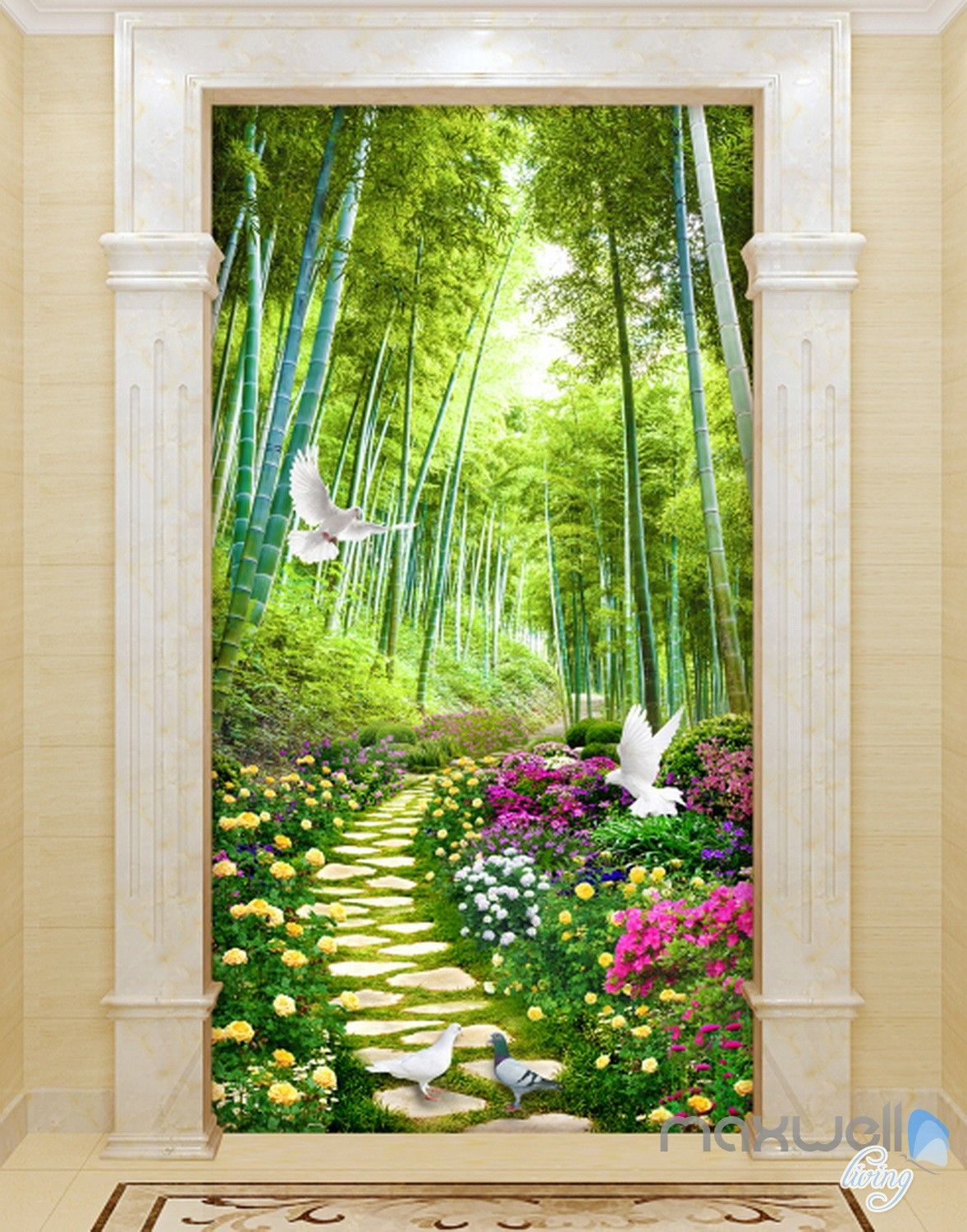 3d flowers birds lane forest tree corridor entrance wall on wall stickers painting id=16137
