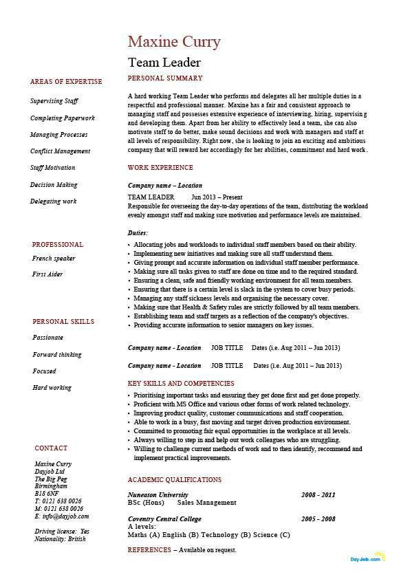 Example Of Professional Resume Team Leader Sample Resume Team Leader Resume Supervisor Cv