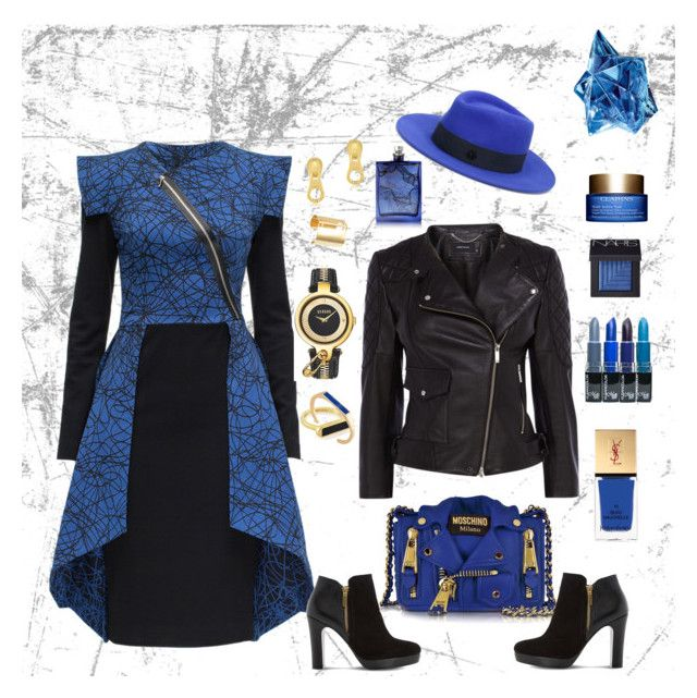 """""""Blue Dress"""" by karolinewells ❤ liked on Polyvore featuring Lattori, Dune, Karen Millen, Moschino, Maison Michel, Versus, Marc by Marc Jacobs, Edge of Ember, NARS Cosmetics and The Beautiful Mind Series"""