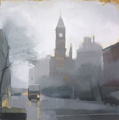 Lisa Breslow   West Village Street, Winter's Day 1 , 2009   Oil and pencil on panel  24 X 24 inches