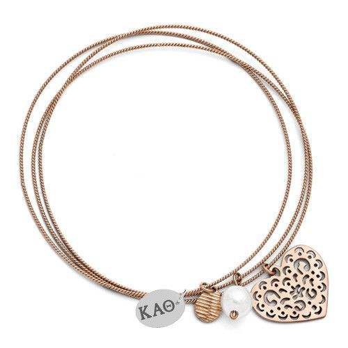 Kappa Alpha Theta Greek Letters Rose Color Stainless Steel Bangle Bracelets
