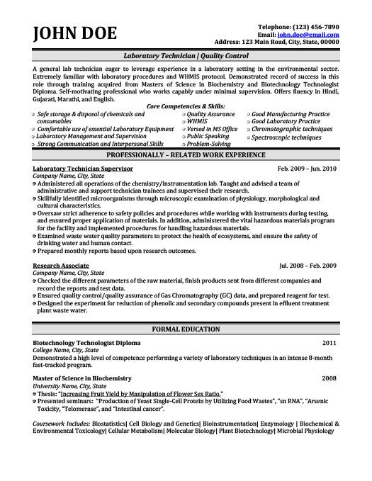 Laboratory Technician Resume Template Premium Resume Samples - assurance associate sample resume
