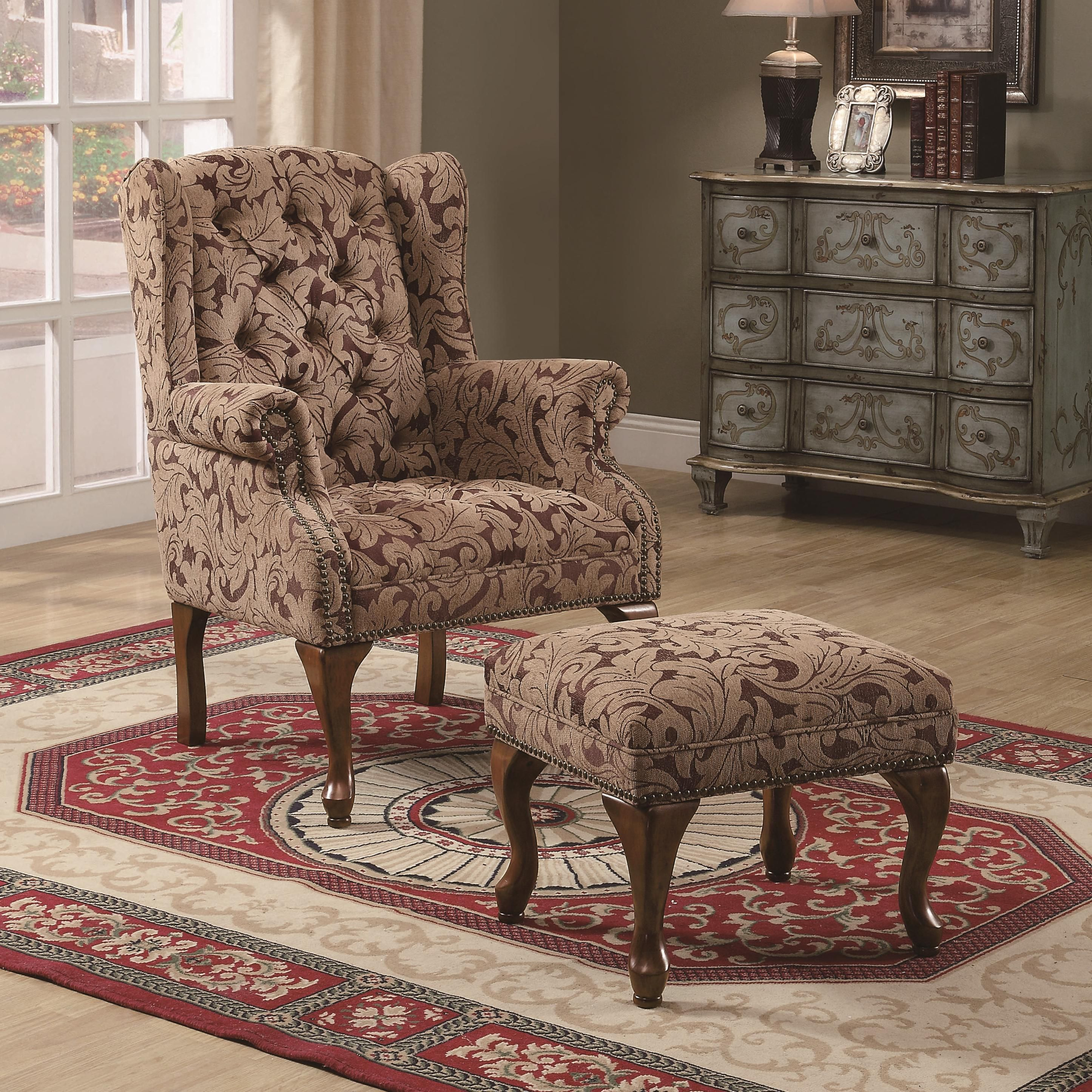 Accent Seating Traditional Tufted Wing Back Chair and