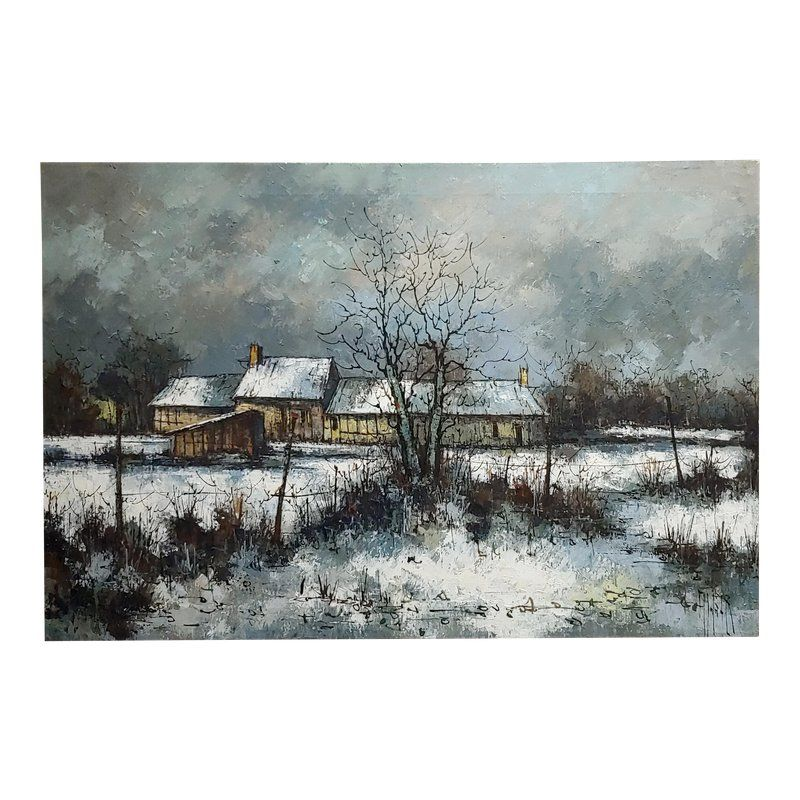 1970s cottage oil painting winter countryside landscape