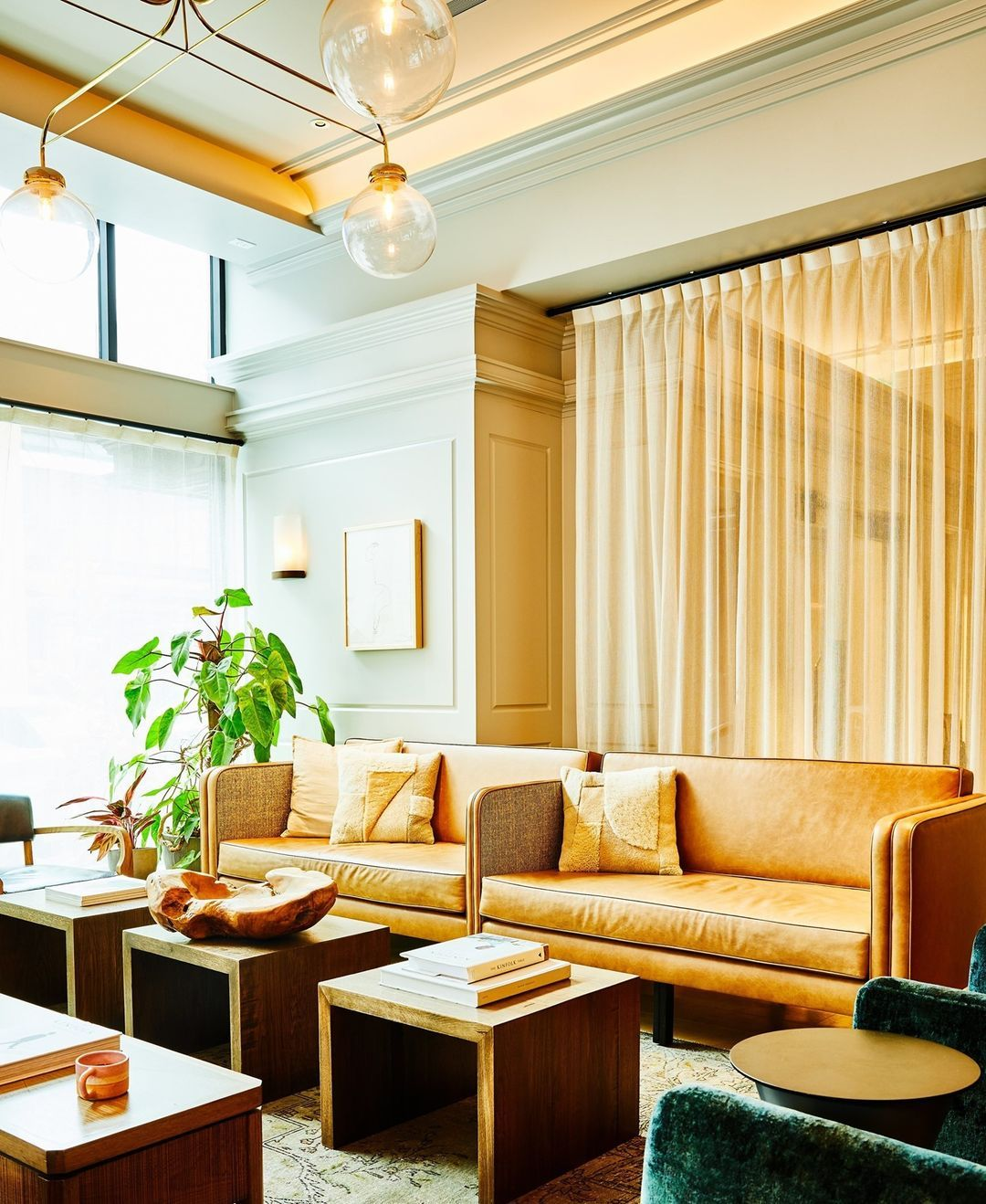 "Smith Hanes Studio on Instagram: ""We love this quiet corner in the lobby at the Woodlark Hotel Portland."""