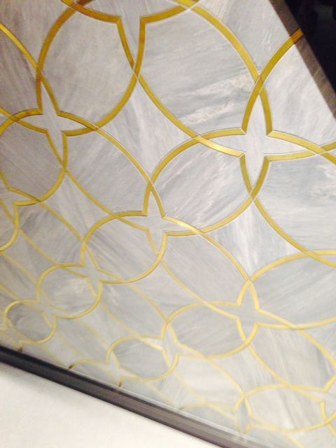 Euro Tile Grand Opening Sample Tile With Gold Calcutta