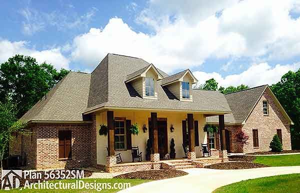 Plan W56352sm Southern Acadian French Country Corner
