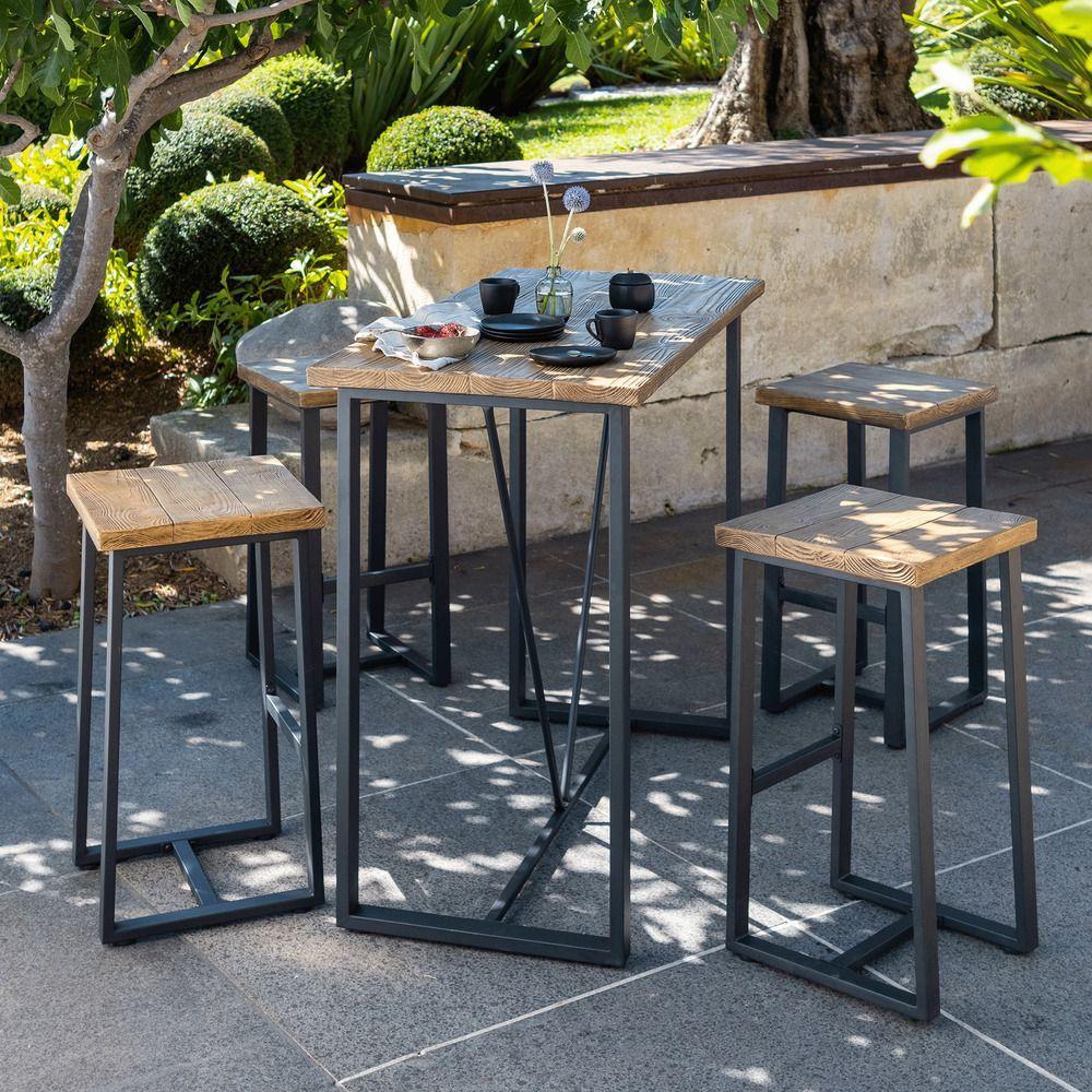 Table Haute De Jardin Rectangulaire Effet Bois L120cm 4 Places Dublin Table De Jardin Table Haute Tabouret De Bar Table De Jardin