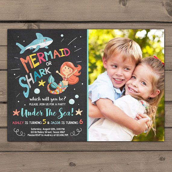 shark or mermaid birthday invitation