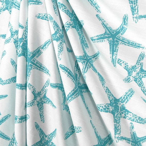Shower Curtain Ocean Blue Starfish Size 72x72 Aqua On Etsy 7900