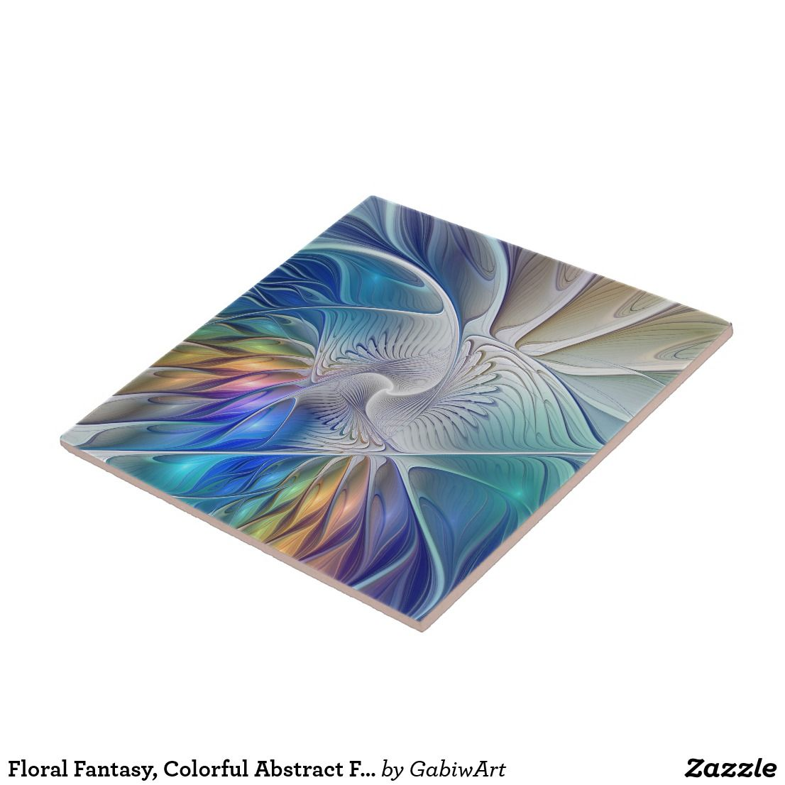 Floral Fantasy, Colorful Abstract Fractal Flower Ceramic