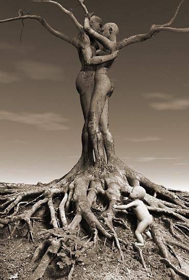 How did they do that?  Roots, Coffeeoath.com THERE'S A BABY AT THE BOTTOM!--TMG