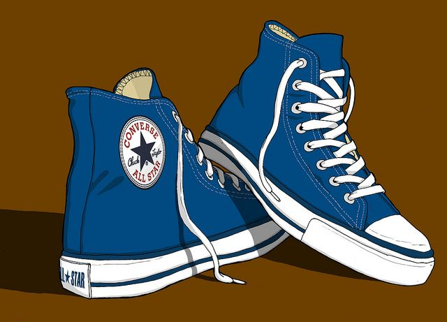 low priced d3c71 c39c1 Converse All Stars Trainers illustration by Erlen Masson, via Flickr Dibujo  Zapatillas, Zapatos,