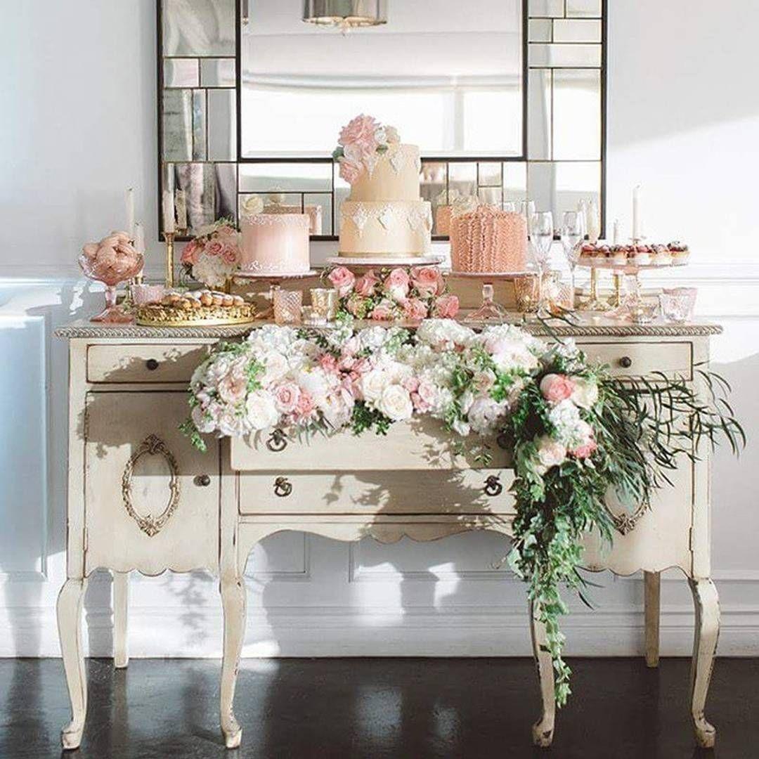 French Vintage Inspired Mini Wedding Cakes Dessert Table