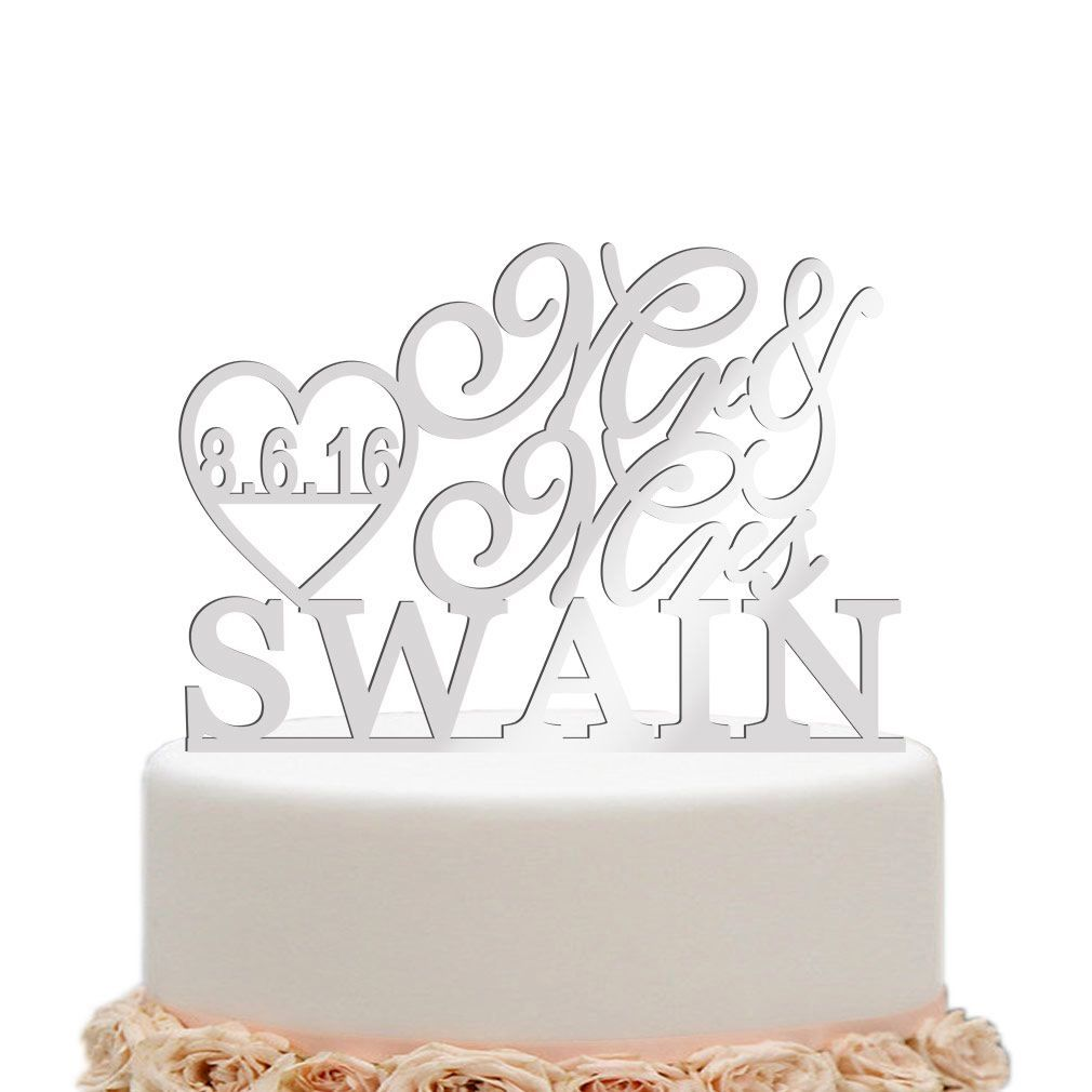 Marriage heart mirror silver personalized last name cake topper