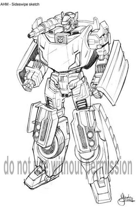 Sideswipe Design Adaptation Transformers Drawing Transformers Transformers Coloring Pages