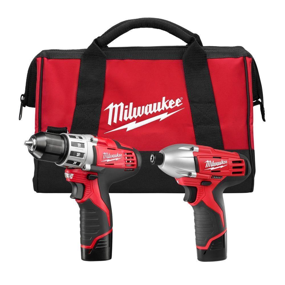 Milwaukee M12 12V Cordless Li-Ion Drill /& Impact Driver Combo Kit 2494-22B New