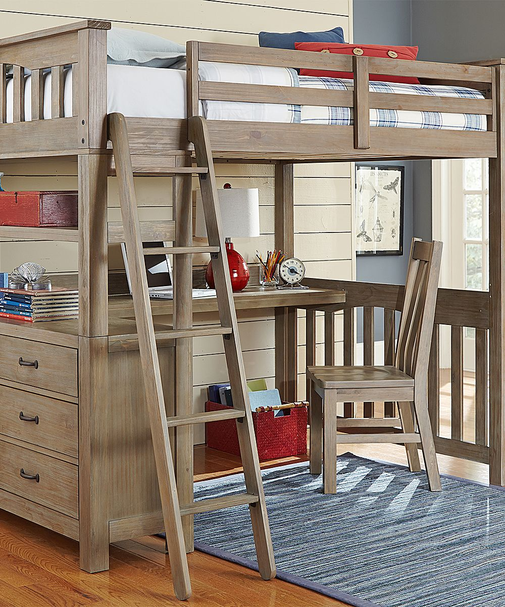 Wood loft bed with desk and dresser  Highlands Loft Bed with Desk in Driftwood  Zulily  Full size bed