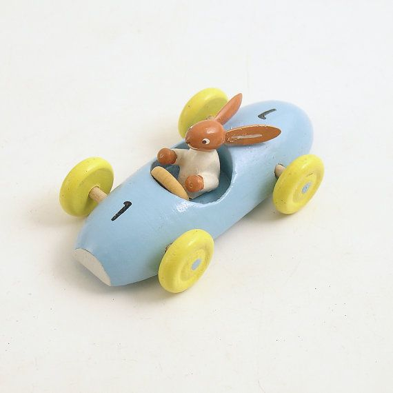 Vintage Easter Bunny Rabbit in Race Car Erzgebirge Germany