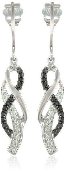 10K White Gold Black and White Diamond Cross Over Earrings (1/4 cttw, I-J Color, I2-I3 Clarity)