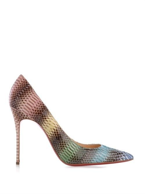 Elevate new-season looks with these Decollete 100mm pumps from Christian Louboutin. They're crafted in Italy from multicoloured watersnake and have a classic point-toe silhouette. Team them with a loose and languid linen dress for a contemporary contrast or amp things up with a form-fitting cocktail dress.